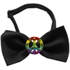Mirage Pet Products Rainbow Peace Sign Chipper Black Bow Tie