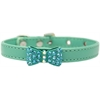 Mirage Pet Products Bow-dacious Crystal Dog Collar Aqua Size 10