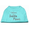 Mirage Pet Products Screenprint Santa Paws Pet Shirt Aqua XS (8)