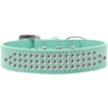 Mirage Pet Products Three Row Clear Crystal Dog Collar Aqua Size 16