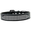 Mirage Pet Products Three Row Clear Crystal Dog Collar Black Size 16