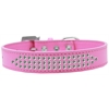 Mirage Pet Products Three Row Clear Crystal Dog Collar Bright Pink Size 16