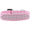 Mirage Pet Products Three Row Clear Crystal Dog Collar Light Pink Size 18