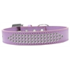 Mirage Pet Products Three Row Clear Crystal Dog Collar Lavender Size 14