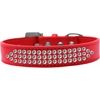 Mirage Pet Products Three Row Clear Crystal Dog Collar Red Size 16