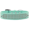Mirage Pet Products Three Row AB Crystal Dog Collar Aqua Size 16