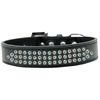 Mirage Pet Products Three Row AB Crystal Dog Collar Black Size 16