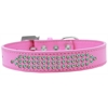 Mirage Pet Products Three Row AB Crystal Dog Collar Bright Pink Size 18