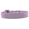 Mirage Pet Products Three Row AB Crystal Dog Collar Lavender Size 18
