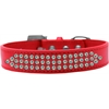 Mirage Pet Products Three Row AB Crystal Dog Collar Red Size 12