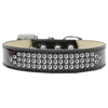 Mirage Pet Products Three Row Clear Crystal Ice Cream Dog Collar Black Size 20