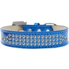 Mirage Pet Products Three Row Clear Crystal Ice Cream Dog Collar Blue Size 16