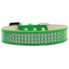 Mirage Pet Products Three Row Clear Crystal Ice Cream Dog Collar Emerald Green Size 16