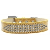 Mirage Pet Products Three Row Clear Crystal Ice Cream Dog Collar Gold Size 14