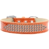 Mirage Pet Products Three Row Clear Crystal Ice Cream Dog Collar Orange Size 16