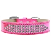 Mirage Pet Products Three Row Clear Crystal Ice Cream Dog Collar Pink Size 14