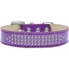Mirage Pet Products Three Row Clear Crystal Ice Cream Dog Collar Purple Size 14
