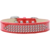 Mirage Pet Products Three Row Clear Crystal Ice Cream Dog Collar Red Size 16