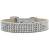 Mirage Pet Products Three Row Clear Crystal Ice Cream Dog Collar Silver Size 14