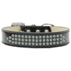 Mirage Pet Products Three Row AB Crystal Ice Cream Dog Collar Black Size 16