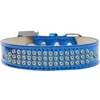 Mirage Pet Products Three Row AB Crystal Ice Cream Dog Collar Blue Size 16