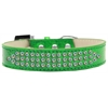 Mirage Pet Products Three Row AB Crystal Ice Cream Dog Collar Emerald Green Size 12