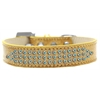 Mirage Pet Products Three Row AB Crystal Ice Cream Dog Collar Gold Size 14
