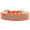 Mirage Pet Products Three Row AB Crystal Ice Cream Dog Collar Orange Size 18