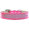 Mirage Pet Products Three Row AB Crystal Ice Cream Dog Collar Pink Size 18