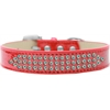 Mirage Pet Products Three Row AB Crystal Ice Cream Dog Collar Red Size 16
