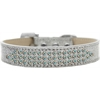 Mirage Pet Products Three Row AB Crystal Ice Cream Dog Collar Silver Size 14