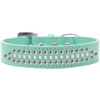 Mirage Pet Products Ritz Pearl and Clear Crystal Dog Collar Aqua Size 16