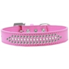 Mirage Pet Products Ritz Pearl and Clear Crystal Dog Collar Bright Pink Size 16