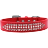 Mirage Pet Products Ritz Pearl and Clear Crystal Dog Collar Red Size 16