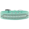 Mirage Pet Products Ritz Pearl and AB Crystal Dog Collar Aqua Size 16