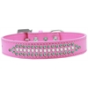 Mirage Pet Products Ritz Pearl and AB Crystal Dog Collar Bright Pink Size 18