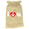 Mirage Pet Products I Love You Screen Print Knit Pet Sweater MD Cream