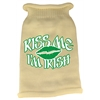 Mirage Pet Products Kiss Me Im Irish Screen Print Knit Pet Sweater MD Cream