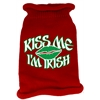 Mirage Pet Products Kiss Me Im Irish Screen Print Knit Pet Sweater LG Red