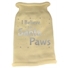 Mirage Pet Products I Believe in Santa Paws Screen Print Knit Pet Sweater MD Cream