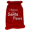 Mirage Pet Products I Believe in Santa Paws Screen Print Knit Pet Sweater LG Red