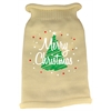 Mirage Pet Products Scribbled Merry Christmas Screen Print Knit Pet Sweater SM Cream