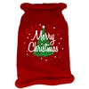 Mirage Pet Products Scribbled Merry Christmas Screen Print Knit Pet Sweater MD Red
