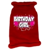 Mirage Pet Products Birthday Girl Screen Print Knit Pet Sweater SM Red