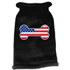 Mirage Pet Products Bone Flag USA Screen Print Knit Pet Sweater MD Black