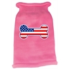 Mirage Pet Products Bone Flag USA Screen Print Knit Pet Sweater LG Pink