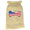 Mirage Pet Products Bone Flag USA Screen Print Knit Pet Sweater MD Cream