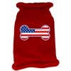 Mirage Pet Products Bone Flag USA Screen Print Knit Pet Sweater SM Red