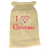 Mirage Pet Products I Heart Christmas Screen Print Knit Pet Sweater SM Cream