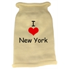 Mirage Pet Products I Love New York Screen Print Knit Pet Sweater LG Cream